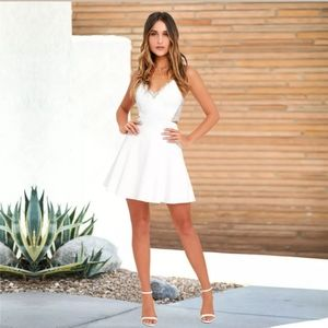 Cute White V Neck Lace Trim Dress